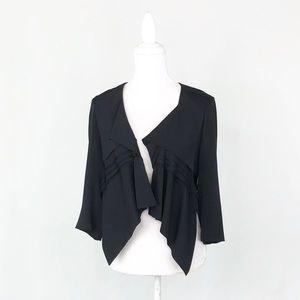 Robert Rodriguez stretch silk cropped black jacket